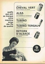 D- Publicité Advertising 1966 Le Fil Cheval vert Alsa Tubino retors d'Alsace DMC