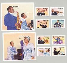 St Vincent #1142-51 Entertainers Jazz & Big Band Music 8v & 2v S/S Imperf Proofs