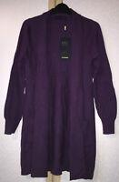 M&S Ladies Blueberry Purple Pure Cashmere Open Front Cardigan Size 8 BNWT