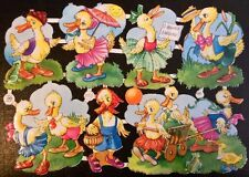 1980 DieCut ScrapPaper Glanzbilder Oblaten ANTHROPOMORPHIC DRESSED DUCKS PZB1297