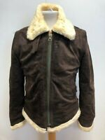 H407 MENS Mr JHONATHAN BROWN SUEDE AVIATOR SHERPA LINED JACKET UK M EU 50