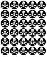 30 Jolly Roger Pirate Party Edible Rice Paper Cupcake Fairy Cake Toppers