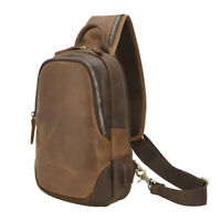 USB Charging Men Real Leather Sling Bag Single Strap Messenger Chest Backpack