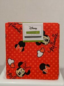 100% COTTON FABRIC DISNEY MINNIE MOUSE FAT QUARTER 18IN X 22IN RED BACK W/DOTS