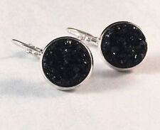 SPARKLING DRUZY RESIN BLACK ROUND LEVER BACK SILVER EARRINGS 12MM