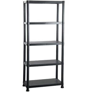 5 Tier Black Plastic Shelving Shelves Storage Unit in Black