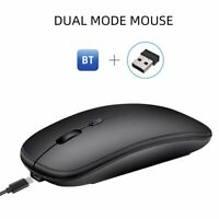 2.4GHz Wireless Bluetooth Dual Mode Mouse Rechargeable Mice For PC Laptop Win10