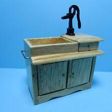 Dollhouse Miniature Kitchen Wet Sink with Pump in Oak ~ D2678A
