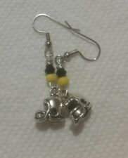 Black Crysal gold seed bead earrings/3 D football Helmet inspired by pittsburgh