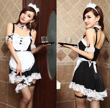 Costume Completo Cameriera Maid Serva Reggicalze Sexy Cosplay Lingerie Con Calze