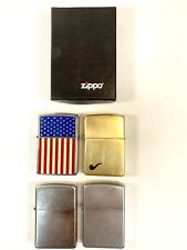 Vintage Zippo Lighters Brass, Brush Chrome American Flag Lot of 4 Very Nice!