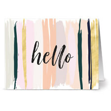 24 Note Cards - Neutral Brushed Hello - Gray Envs