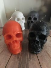 Candle Halloween Skull Gothic Scented Black, Grey, Orange Colour Handmade Custom
