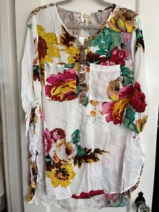 NWT Anthropologie FIG & FLOWER PEASANT Blouse Boho TOP Tunic Plus Sz 1X 2X 3X Fl