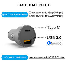 Dual Ports USB Type C PD Car Charger Adapter Max 60W For Iphone iPad Samsung