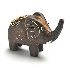 Embossed Painted Elephant Carved from Albecia Wood Ornament J3-19