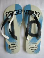 MEN'S NEW HAVAIANAS MODERN ARGENTINA WHITE LIGHT BLUE FLIP FLOPS SIZE MEN USA 8