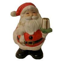 "Santa Figurine Christmas Decor Bank No Stopper Present Happy Jolly Smiling 5.5"""