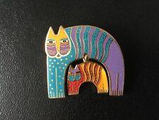 Laurel Burch MR. JIO'S CAT colorful enamel cloisonné & gold tone pin brooch HTF