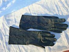 Vintage Women Black Gloves Decorated Hand Applied Bead Design Heavy Cotton 40's