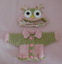 """Wellie Wishers Sweater Clothes Pink Owl Sweater Hat Fits American Girl 14.5"""""""