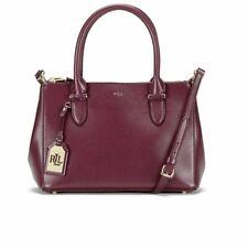Ralph Lauren Womens Newbury Double Zip Leather Satchel Handbag Purple Large