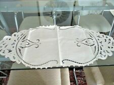 Vintage linen cut work table runner centerpiece scarf