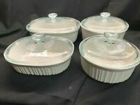 Vintage Corning Ware French White Set 8 pieces Round & Oval 1.5 and 2.5 quart