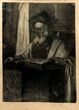 Unidentified Artist Antique Engraving Jewish Rabbi Pray Bible Judaica
