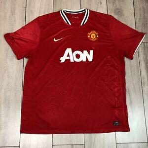 Manchester United 2010/11 Home Football Shirt Aon 3XL Red