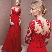 SEXY Chiffon Spitze Ballkleid Abendkleid Partykleid Kleid ROT 3/4 Ärmel BC292