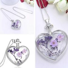 Beautiful Purple Flower Women Dry Flower Heart Glass Wishing Pendant Necklace