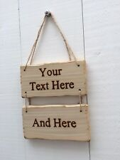 Driftwood Style Shabby Chic Custom Made Design Your Own Sign 20cm x 10cm 2pc