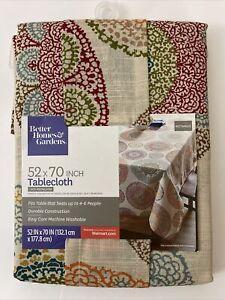 "Better Homes & Gardens Boho Medallion Durable Tablecloth (52x70"") Tan Rectangle"