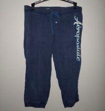 AEROPOSTALE juniors small blue capris embroidery fitness pants loungewear w ties