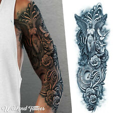Temporary Tattoo Arm Sleeve Angel Greek Mythology Clock 3D Waterproof Mens Women