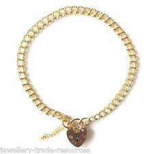 Señoras de 9 quilates de oro amarillo frenar Link cadena encanto pulsera con corazón Candado 4.5 mm