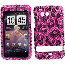 HTC Thunderbolt 4G Crystal Diamond Bling Hard Case Phone Cover Hot Pink Leopard
