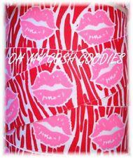 1.5 RIBBON KISSES  SWAK VALENTINE GROSGRAIN PINK LIP RED ZEBRA SALE 5 YARDS