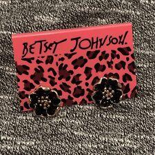 Betsey Johnson Black Flower Earrings
