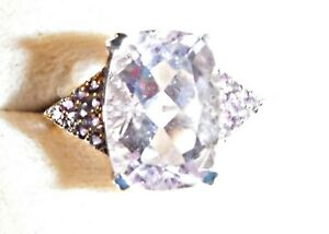 COOL EXQUISITE FACETED PALE AMETHYST & DARKER SILVER 925 RING SIZE BETWEEN N & O