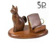 Wood carved iPhone 5 4S 4 3GS *Sitting cat* table stand for mobile phone