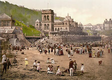 "P36 Vintage 1890's Photochrom Photo - Scarborough Beach - Print A3 17""x12"""