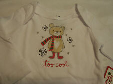 HOLIDAY TIME Baby Boys Girls 3-6 Month Long Sleeve White Bodysuit NWT