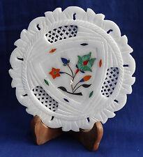 "6"" Marble Plate Pietra Dura Malachite Grill Work Inlaid Handmade Floral Decor"