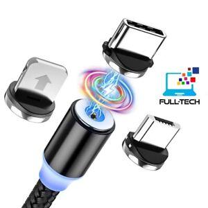 Câble USB Cordon Chargeur Magnétique LED 3 in 1 pour Type-C + Micro USB + iPhone