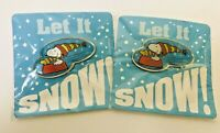 Lot of 2 NEW Snoopy & Woodstock Metal Pin ' Let It Snow ' New