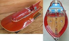 "Lot of Ferrari Hydroplane 32"" & Riva Aquarama 34"" High Quality Wood Model Boat"