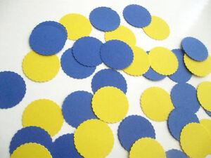 "Confetti 1"" Paper Circles Blue Yellow Wedding Birthday Party Decor"