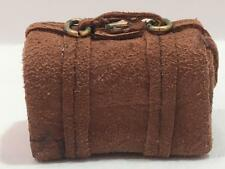 Vintage Dollhouse Miniature Artisan Suede Suitcase Carrying Case 1987